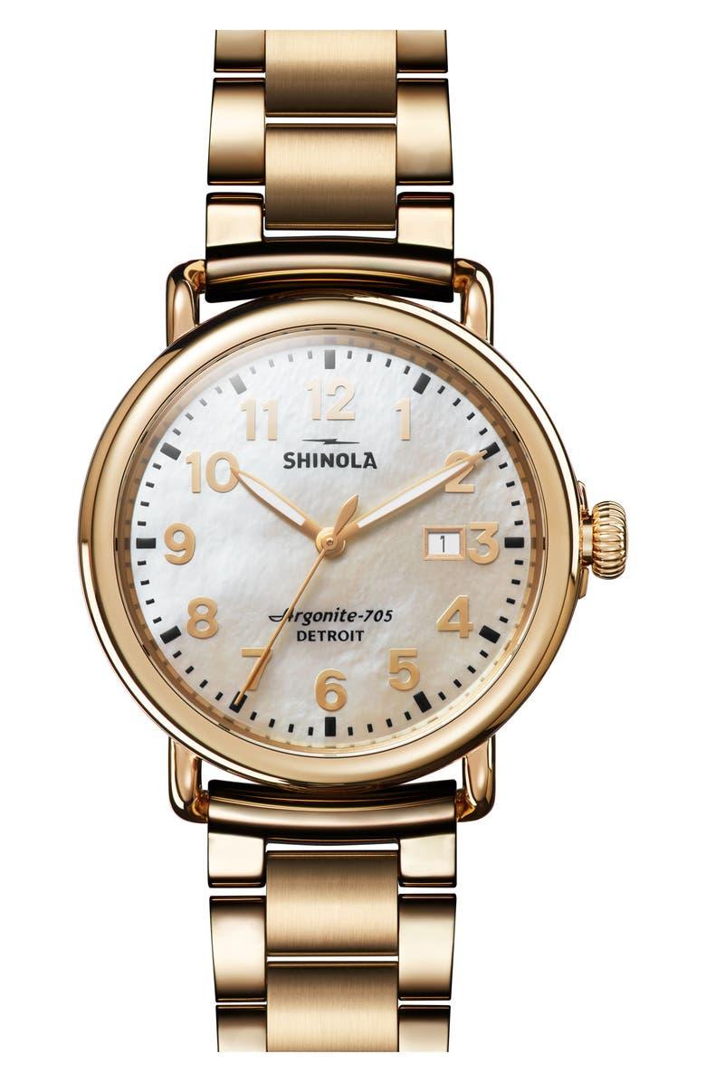 SHINOLA The Runwell Bracelet Watch, 41mm, Main, color, GOLD/ MOP/ GOLD