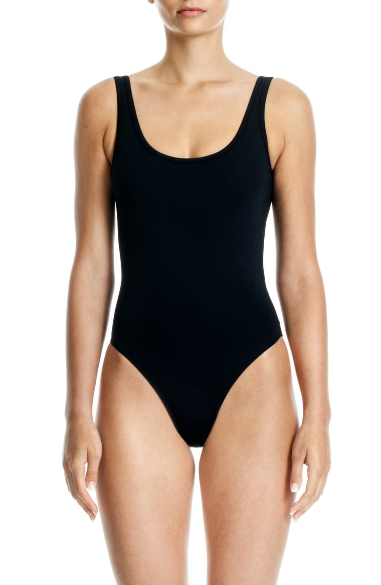BETH RICHARDS Tie One-Piece Swimsuit, Main, color, BLACK
