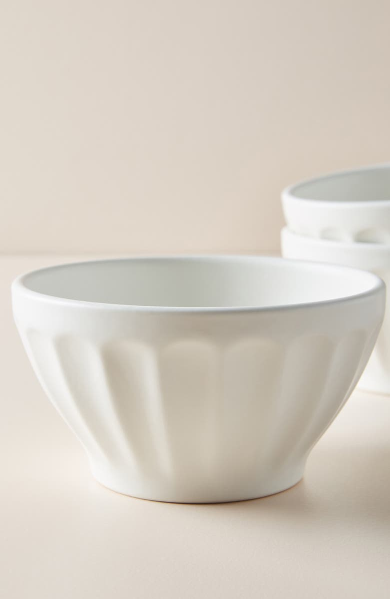 ANTHROPOLOGIE HOME Home Matte Latte Set of 4 Bowls, Main, color, WHITE