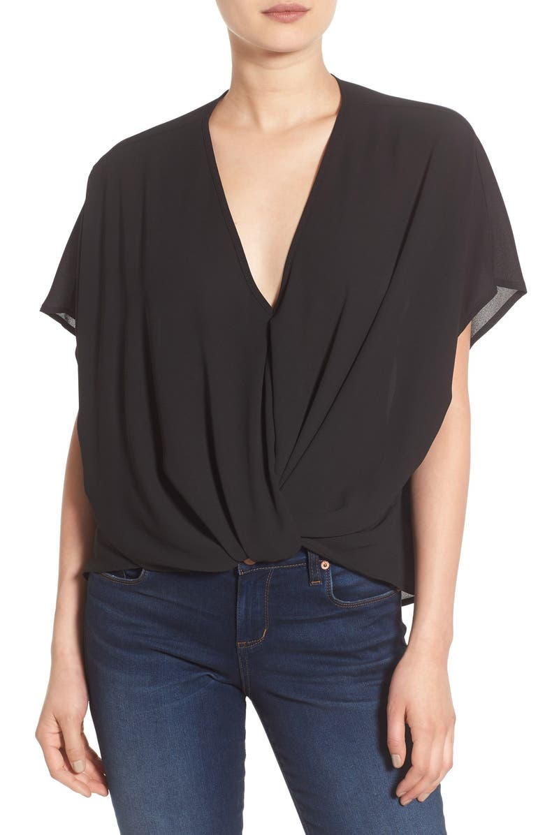 --- Twist Front Woven Top, Main, color, 001