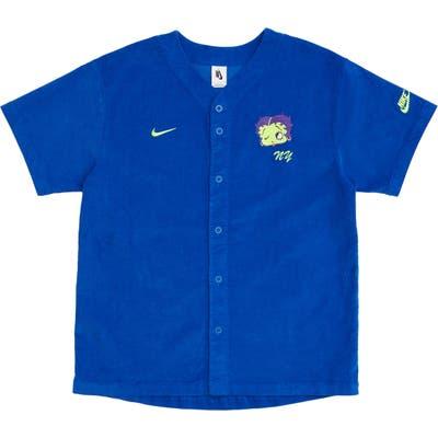 Nike X Olivia Kim Corduroy Baseball Jersey, Blue