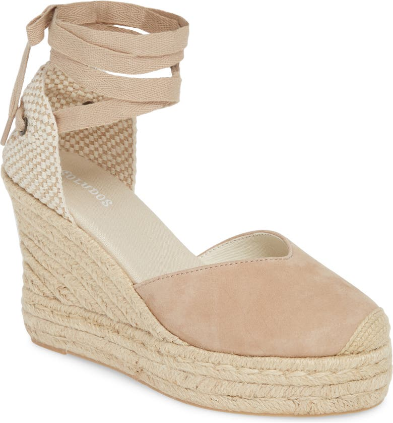 SOLUDOS Mallorca Lace-Up Espadrille Wedge Sandal, Main, color, BLUSH