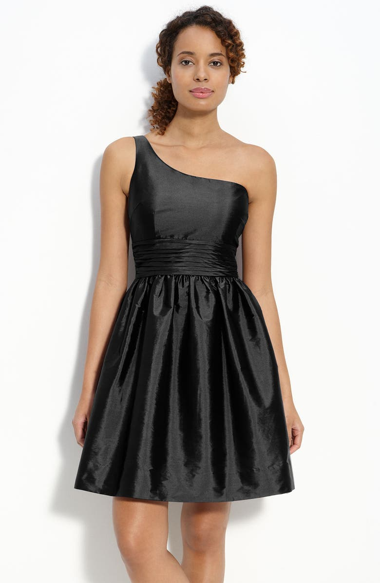 ELIZA J One Shoulder Taffeta Dress, Main, color, 001