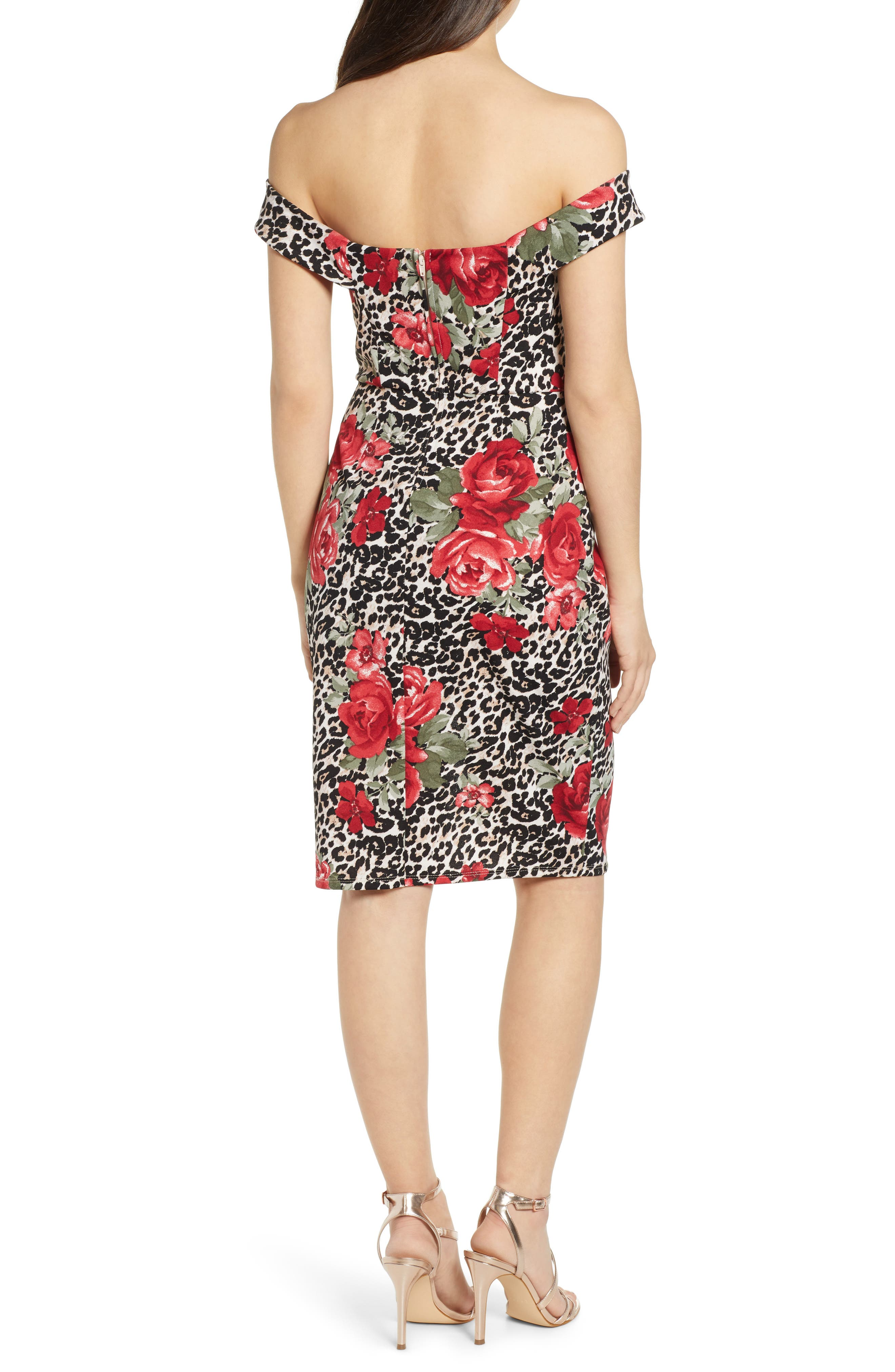 ,                             Mix Print Off the Shoulder Midi Dress,                             Alternate thumbnail 2, color,                             IVORY RED