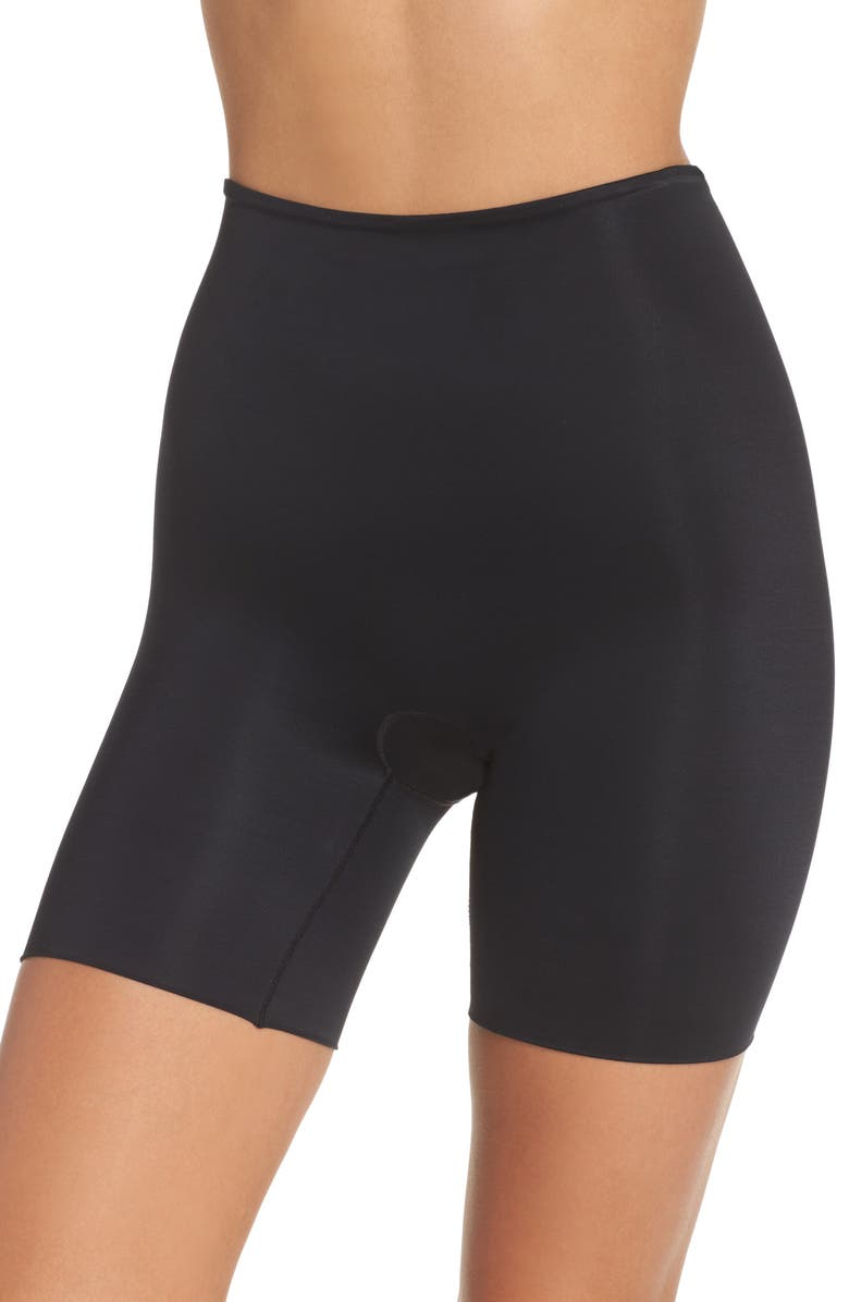 SPANX<SUP>®</SUP> Power Conceal-Her Mid Thigh Shaping Shorts, Main, color, VERY BLACK