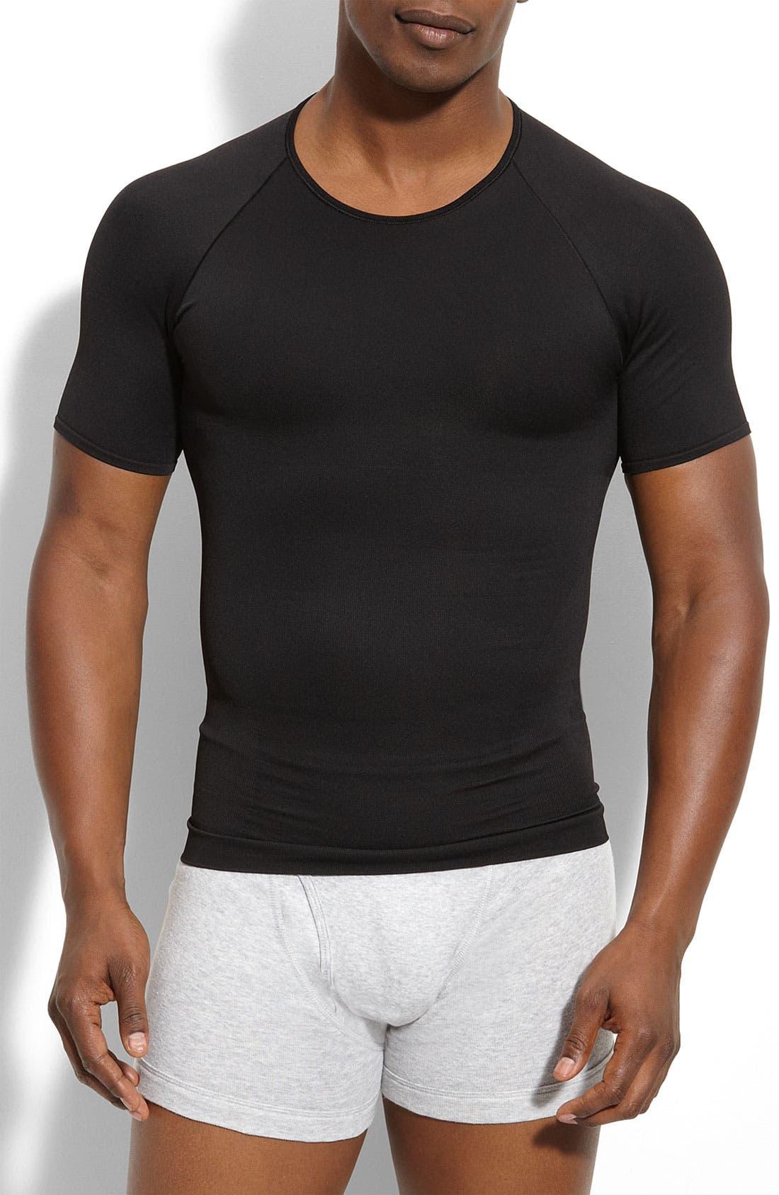 'Zoned Performance' Compression Crewneck T-Shirt, Main, color, BLACK