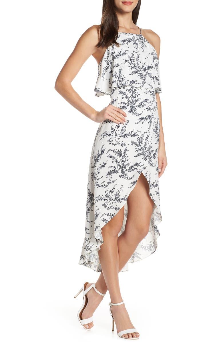 ELIZABETH CROSBY Stella Print High/Low Popover Dress, Main, color, 100