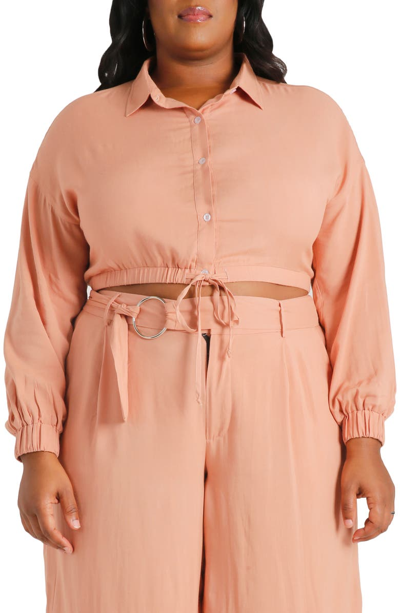 POETIC JUSTICE Kimora Tie Front Button Up Blouse, Main, color, 279