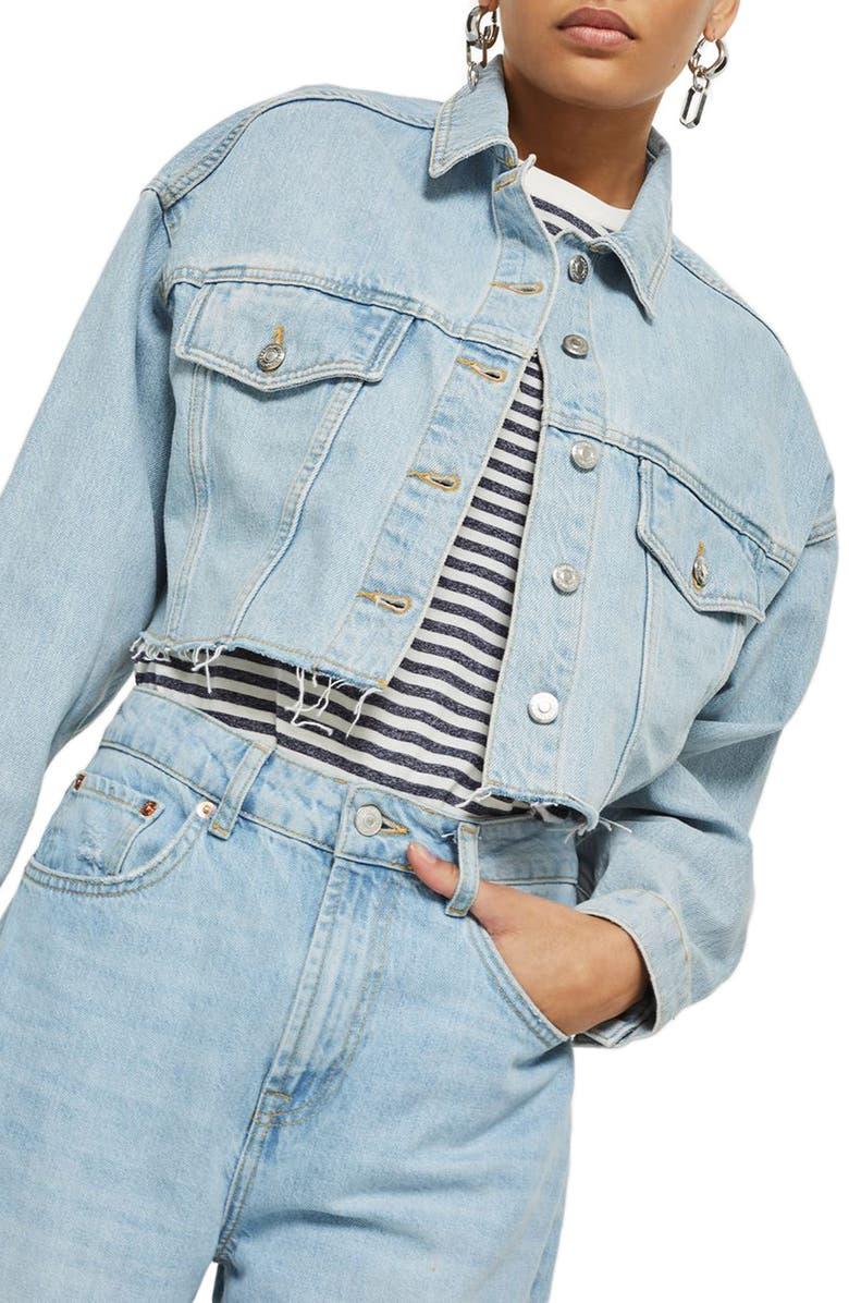 TOPSHOP Bleached Cutoff Denim Jacket, Main, color, 420