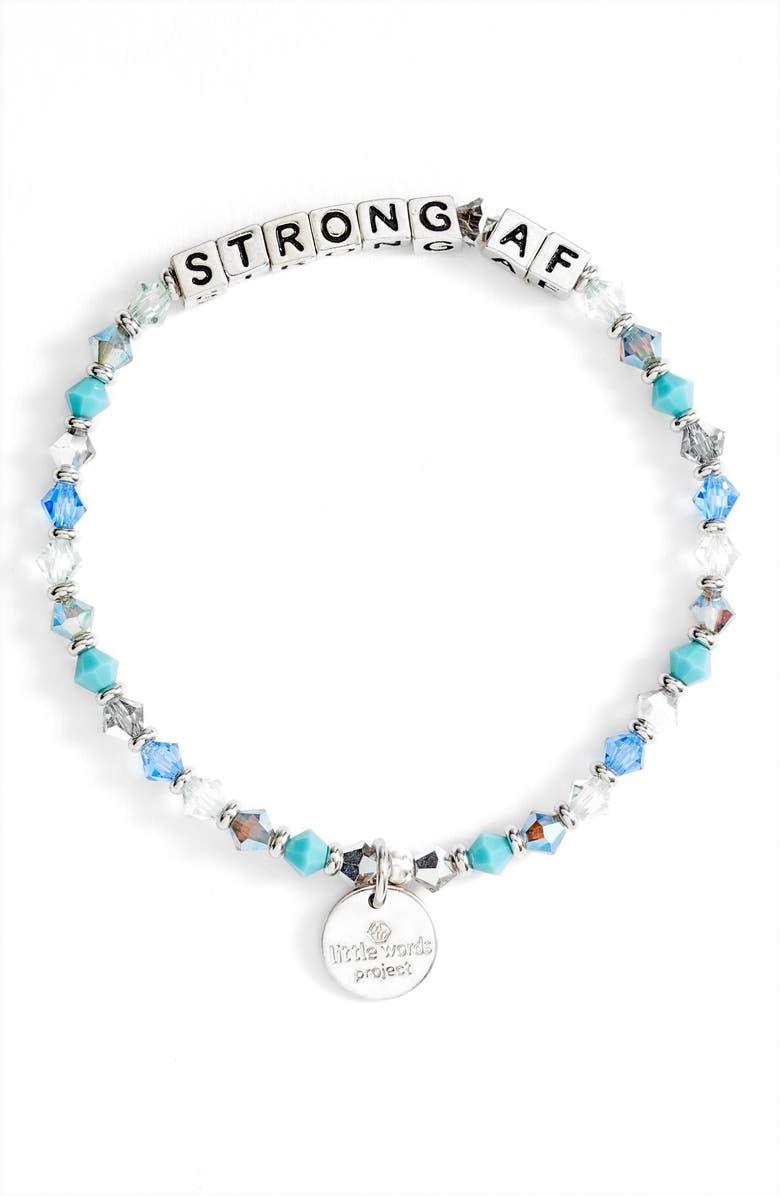 LITTLE WORDS PROJECT Strong AF Beaded Stretch Bracelet, Main, color, 400