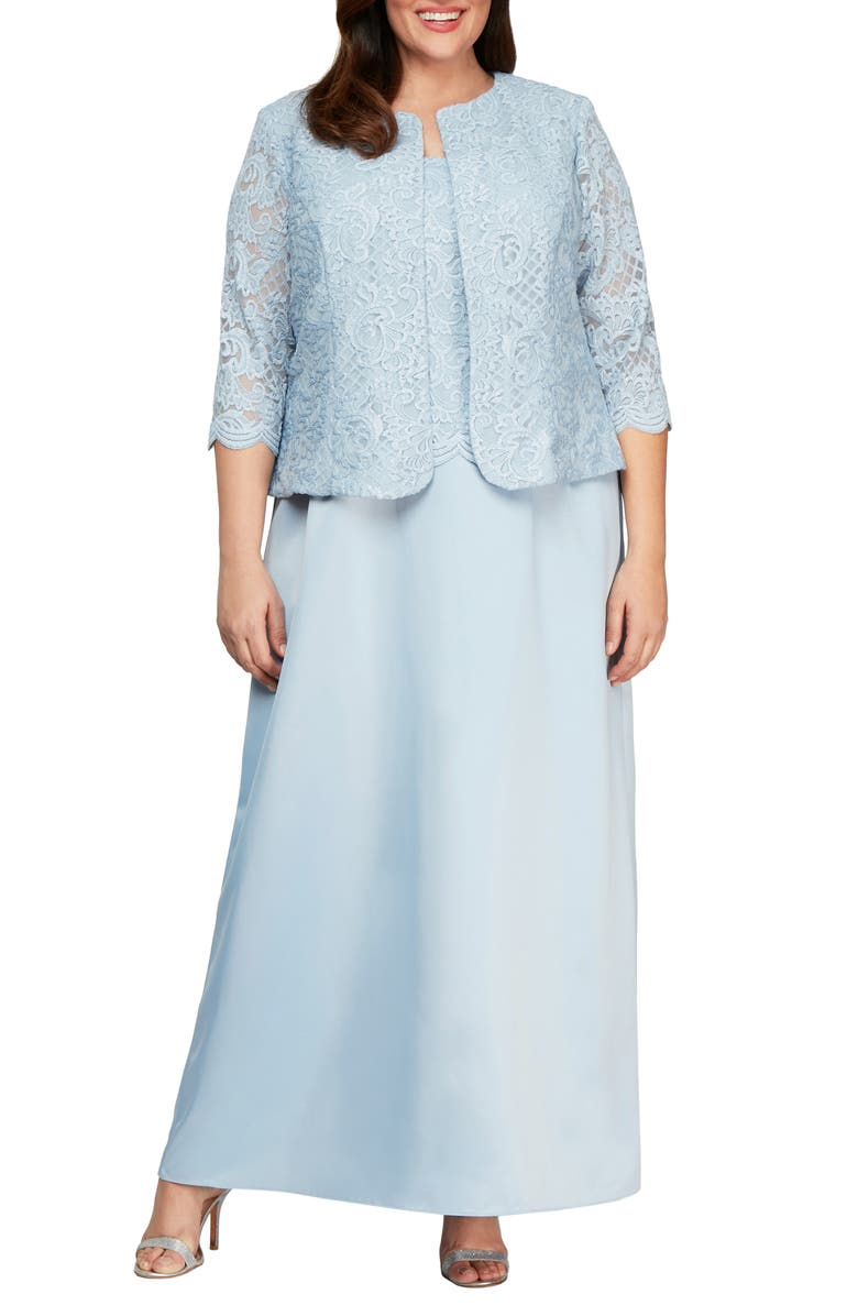 ALEX EVENINGS Embroidered Lace Mock Two-Piece Gown with Jacket, Main, color, 493