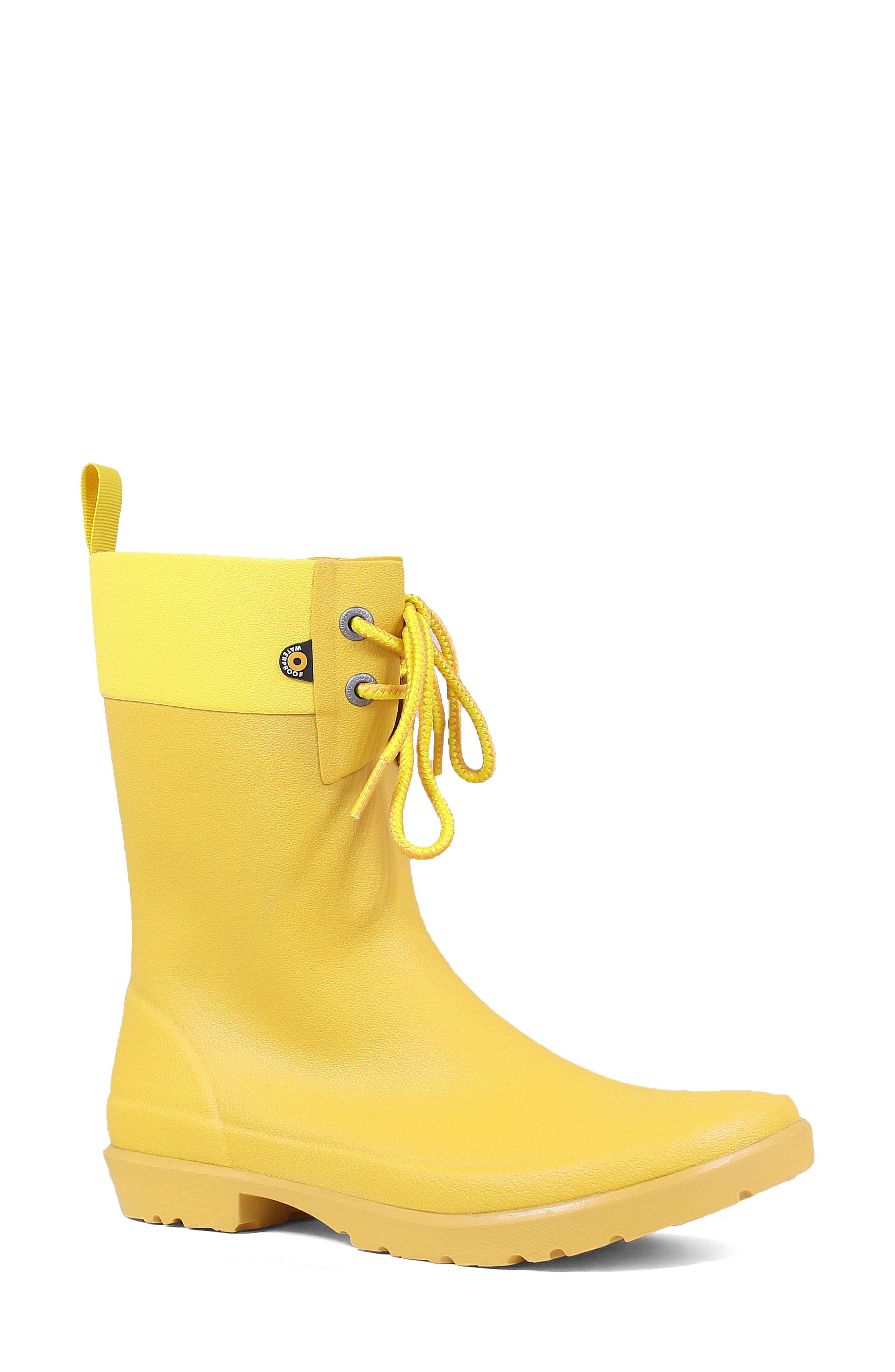 Bogs Floral Lace-Up Waterproof Rain Boot, Yellow