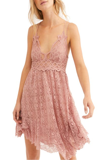 Free People Dresses ADELLA LACE & BURNOUT VELVET SLIPDRESS