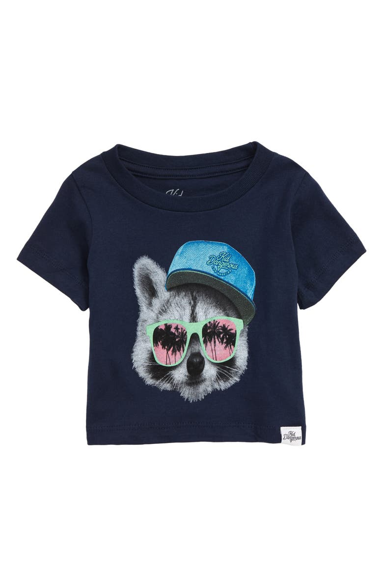 KID DANGEROUS Raccoon Shades Graphic T-Shirt, Main, color, NAVY