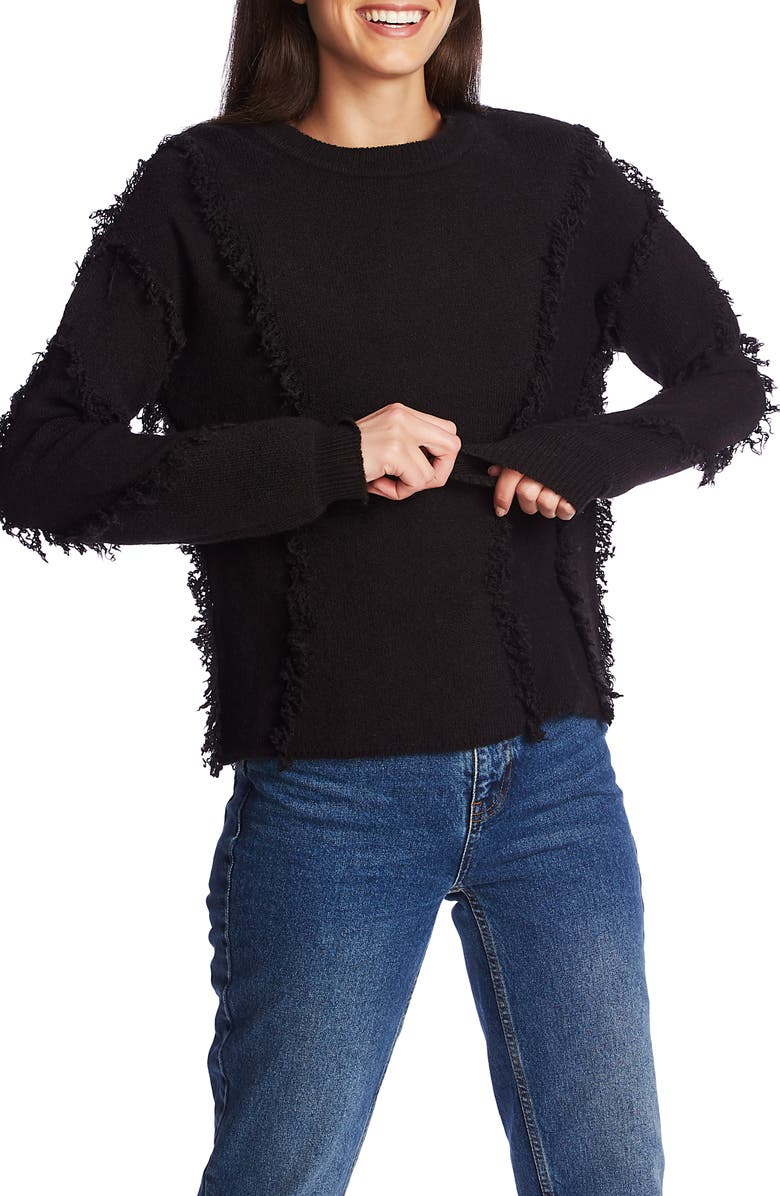 1.STATE Fringe Detail Sweater, Main, color, RICH BLACK