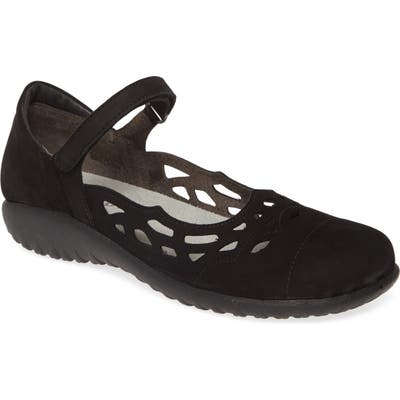 Naot Agathis Mary Jane Flat, Black