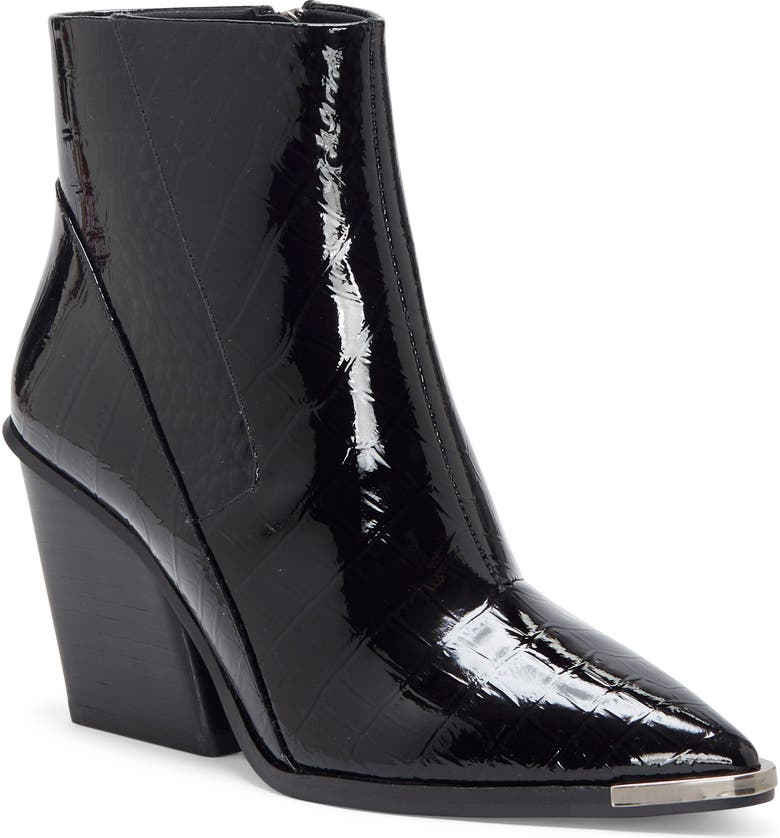 VINCE CAMUTO Anikah Pointy Toe Bootie, Main, color, BLACK LEATHER