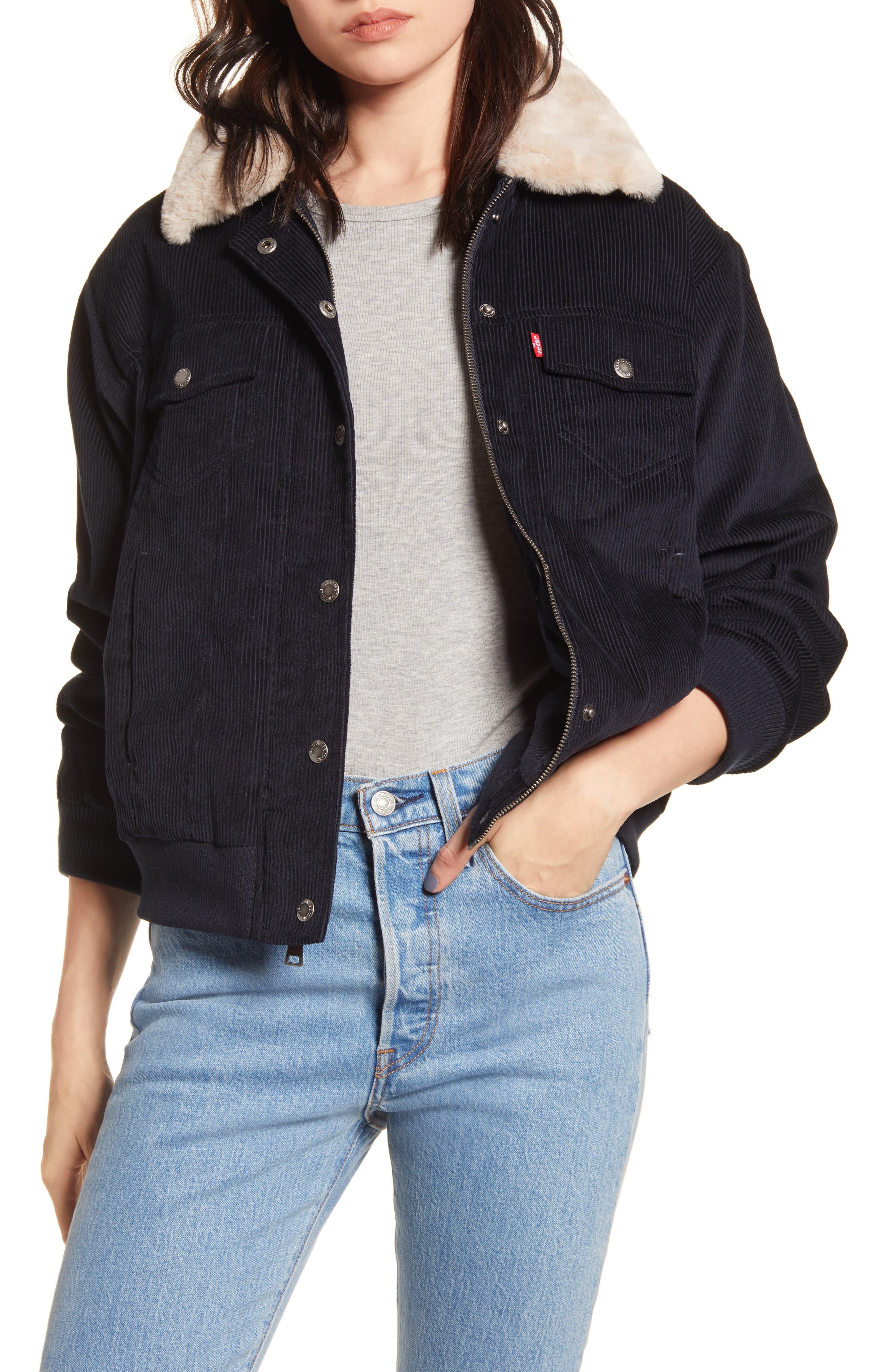 Levi's® Faux Fur Collar Corduroy Bomber Jacket