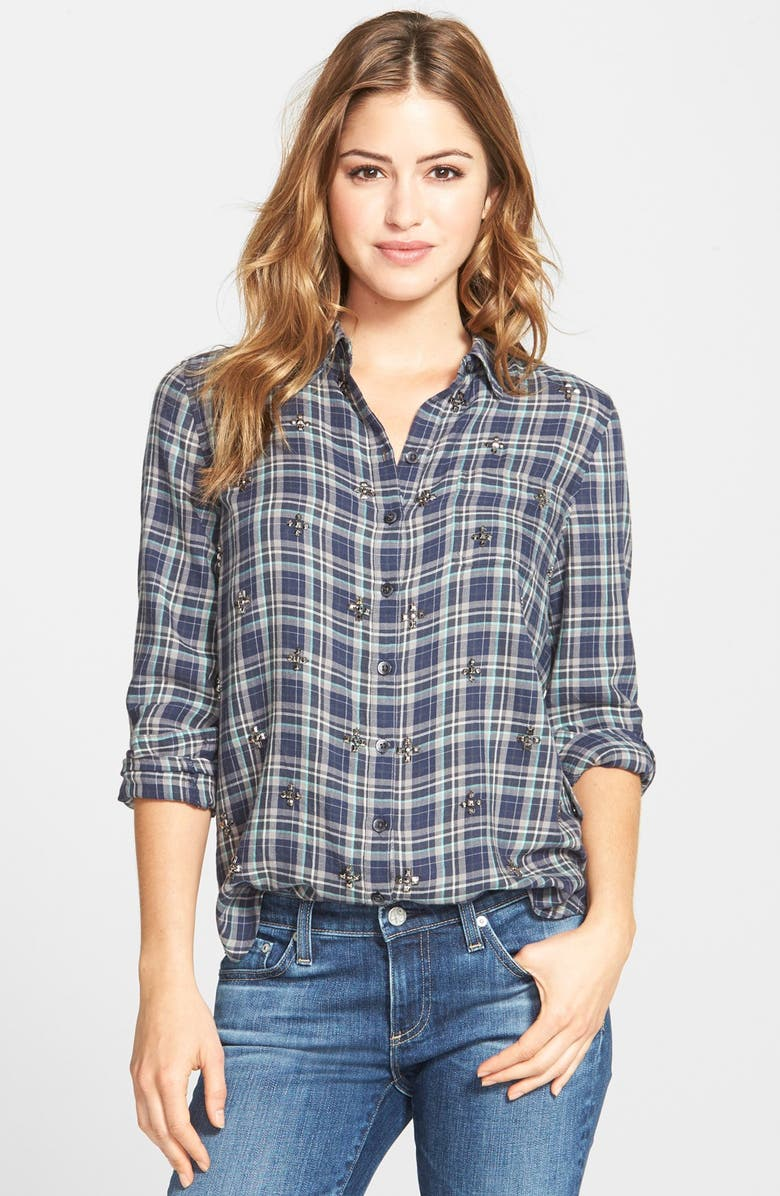 HALOGEN<SUP>®</SUP> Embellished Plaid Shirt, Main, color, 410