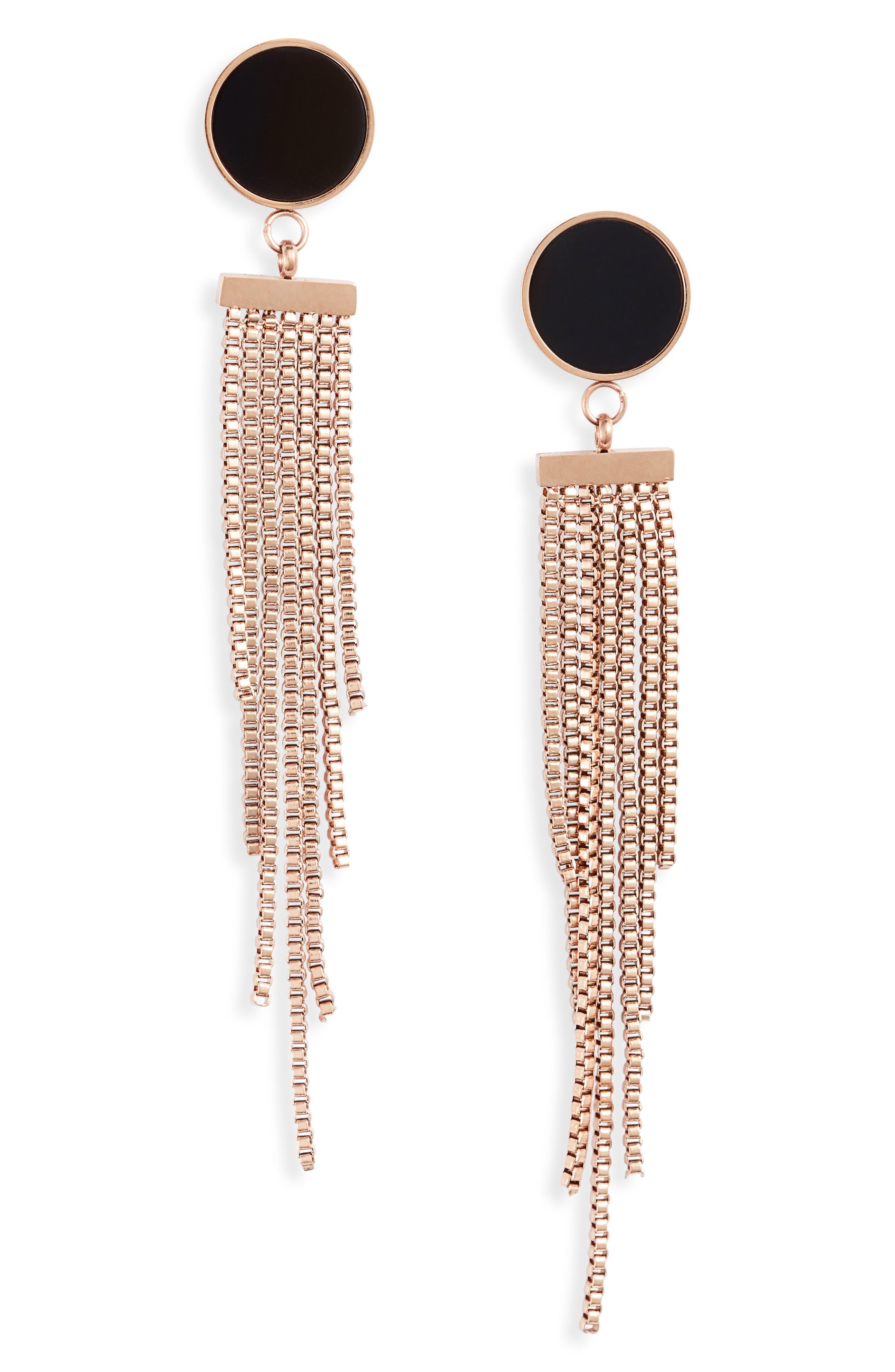 Deco Chain Tiered Drop Earrings