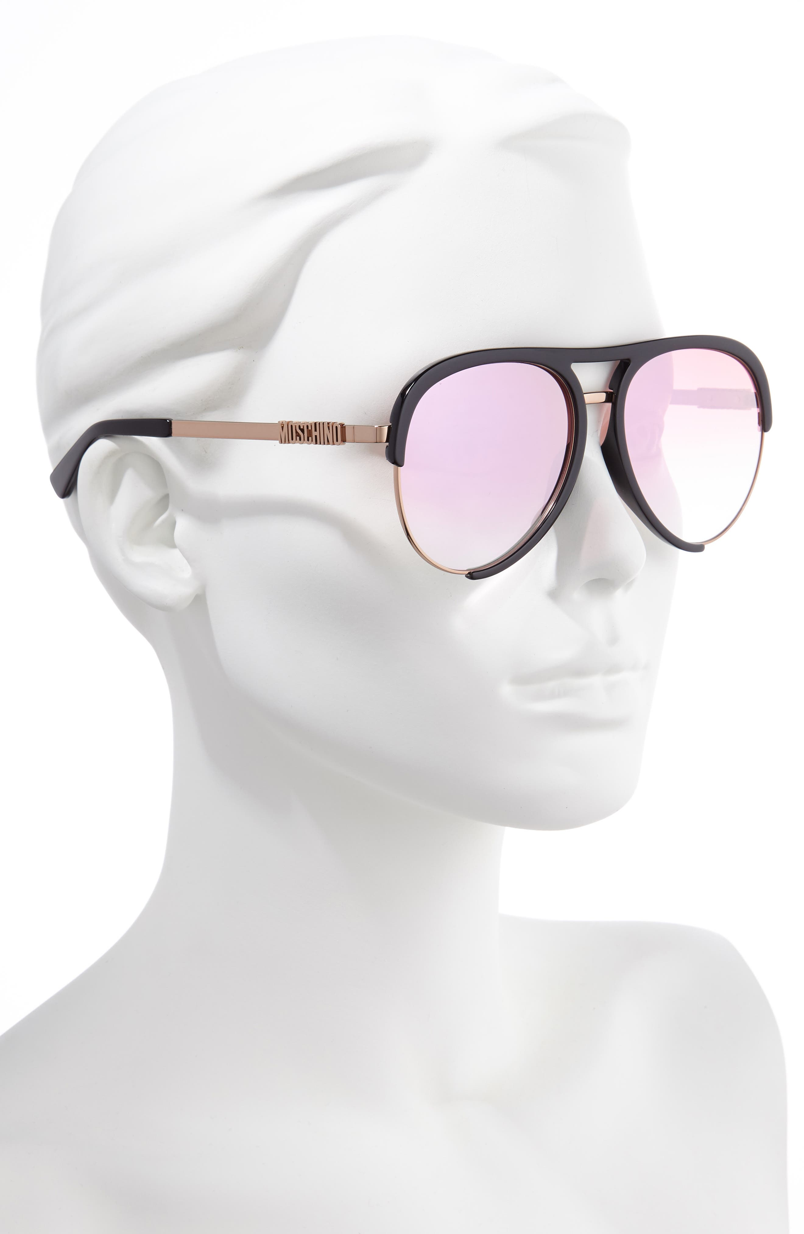 ,                             58mm Aviator Sunglasses,                             Alternate thumbnail 2, color,                             BLACK/ GOLD