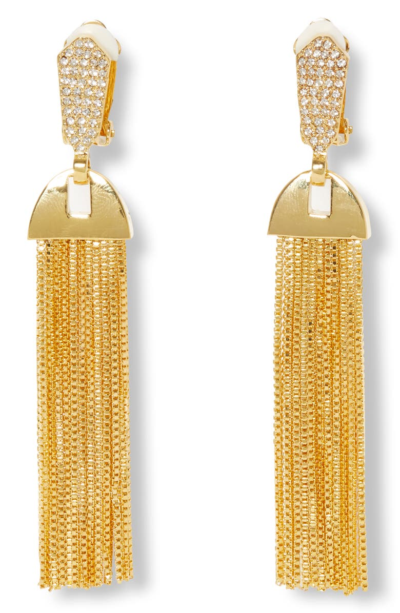 VINCE CAMUTO Pavé & Chain Tassel Clip-On Drop Earrings, Main, color, GOLD/ CRYSTAL