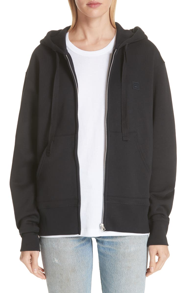 ACNE STUDIOS Ferris Face Patch Zip Hoodie, Main, color, BLACK
