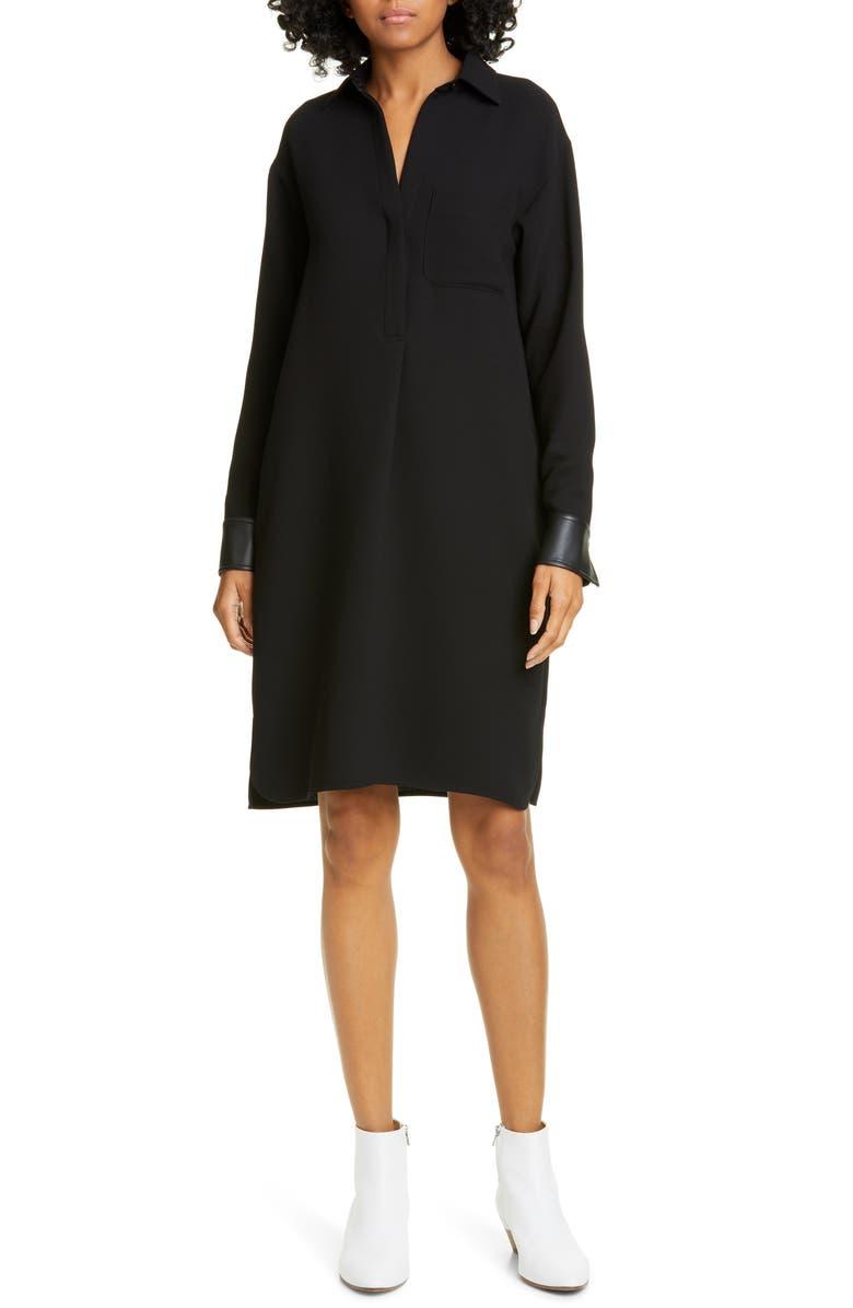 VINCE Long Sleeve Shirtdress, Main, color, BLACK