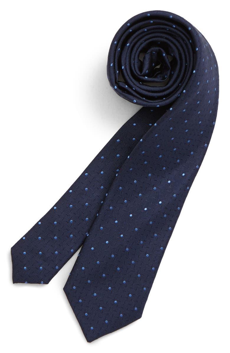 NORDSTROM Roberto Dot Silk Zipper Tie, Main, color, BLUE