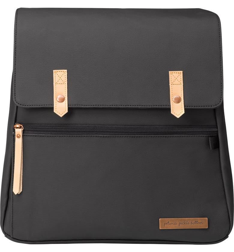 PETUNIA PICKLE BOTTOM Meta Diaper Backpack, Main, color, BLACK MATTE CANVAS