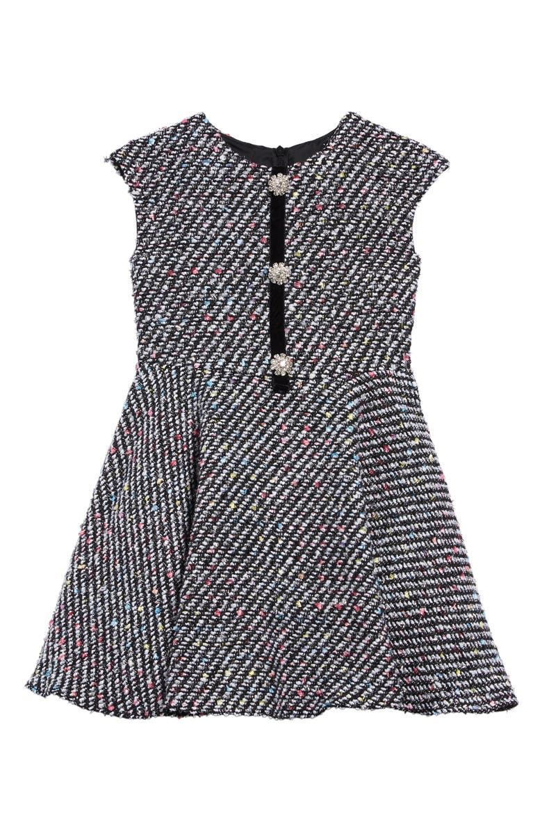 DAVID CHARLES Fleck Tweed Fit & Flare Dress, Main, color, 001