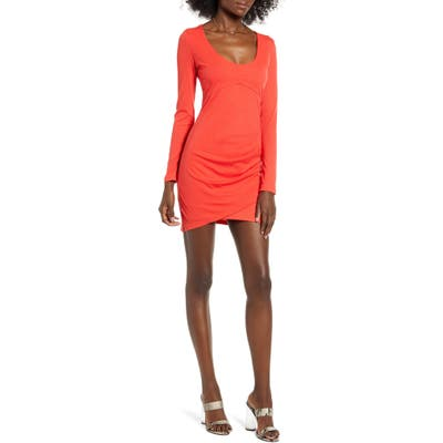 Row A Long Sleeve Ruched Ribbed Body-Con Dress, Red