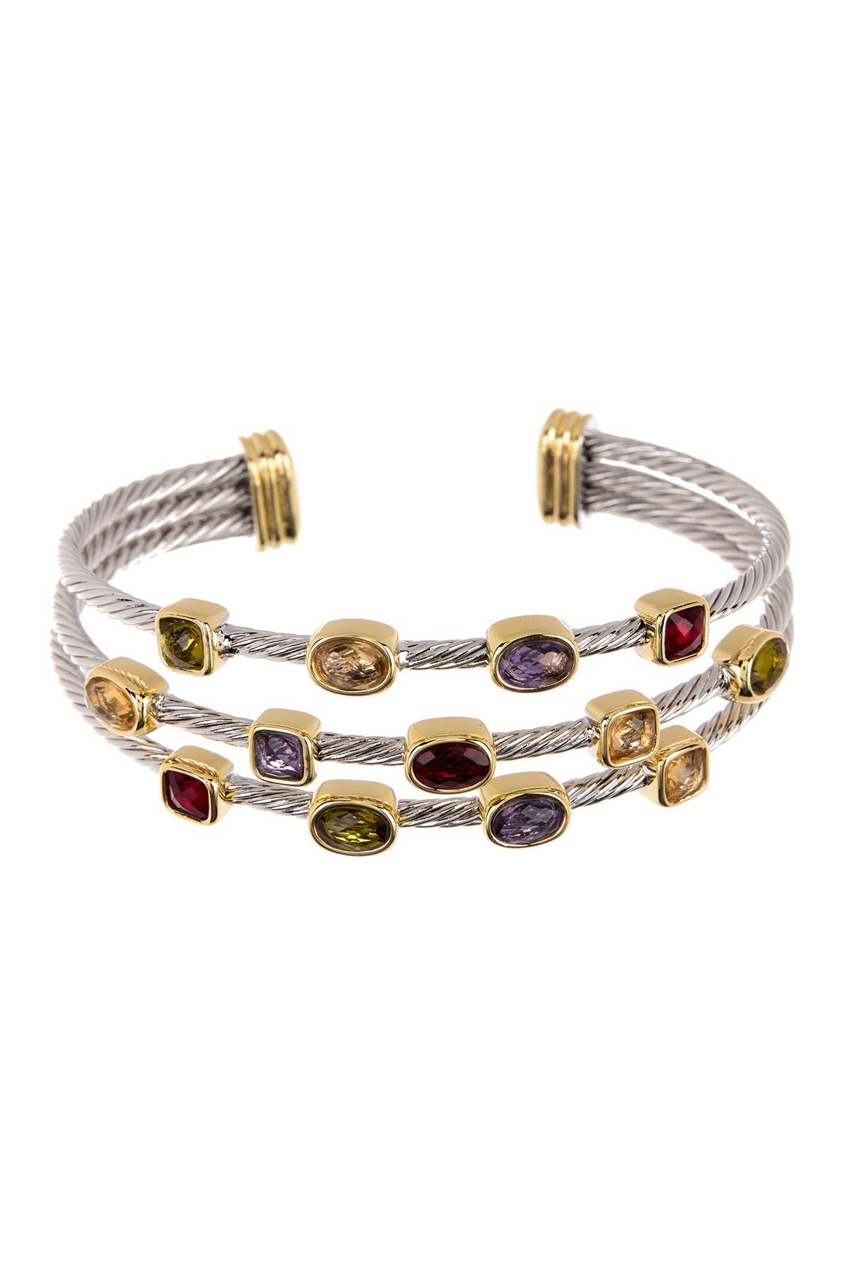 Image of Meshmerise Twisted Cable Multi-Row Stone Cuff Bracelet