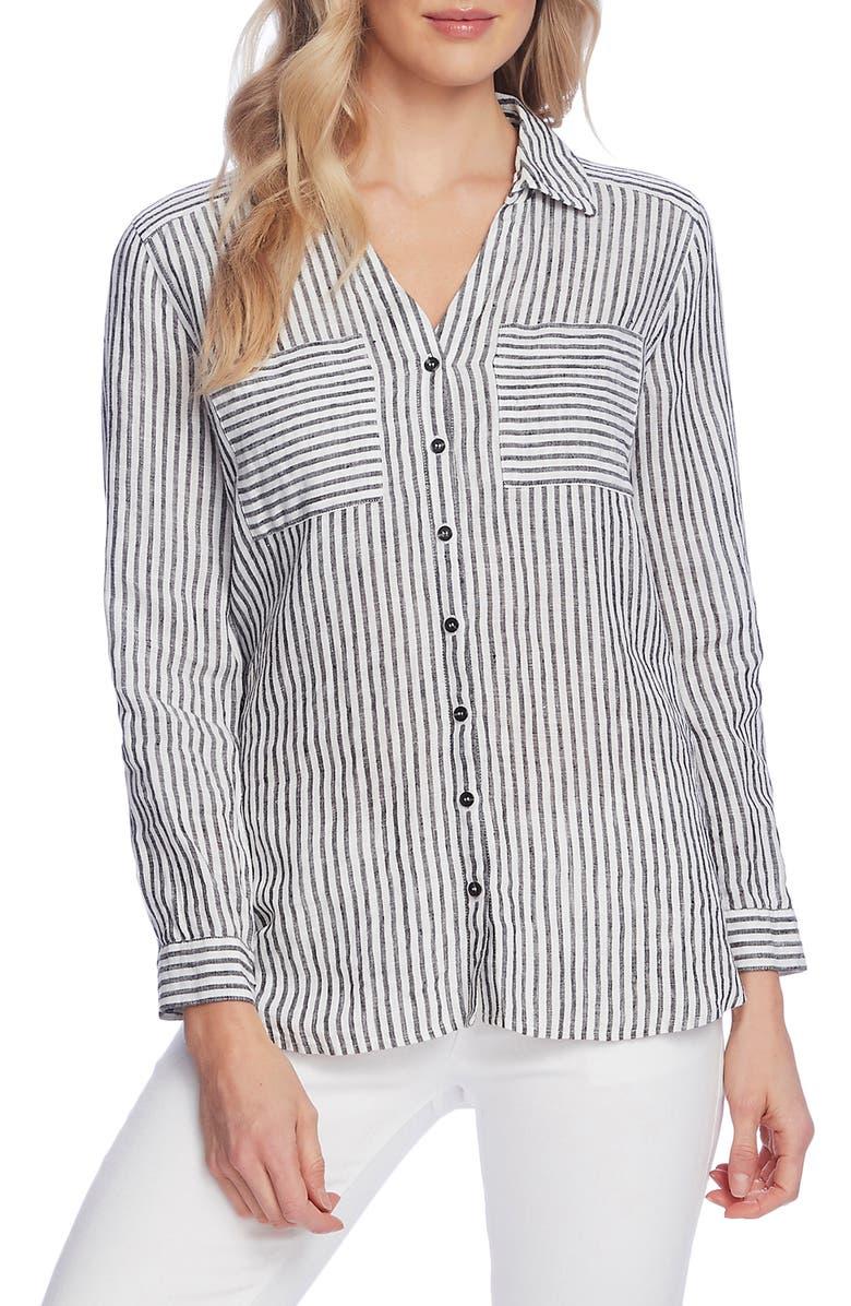 VINCE CAMUTO Stripe Linen Blouse, Main, color, 001