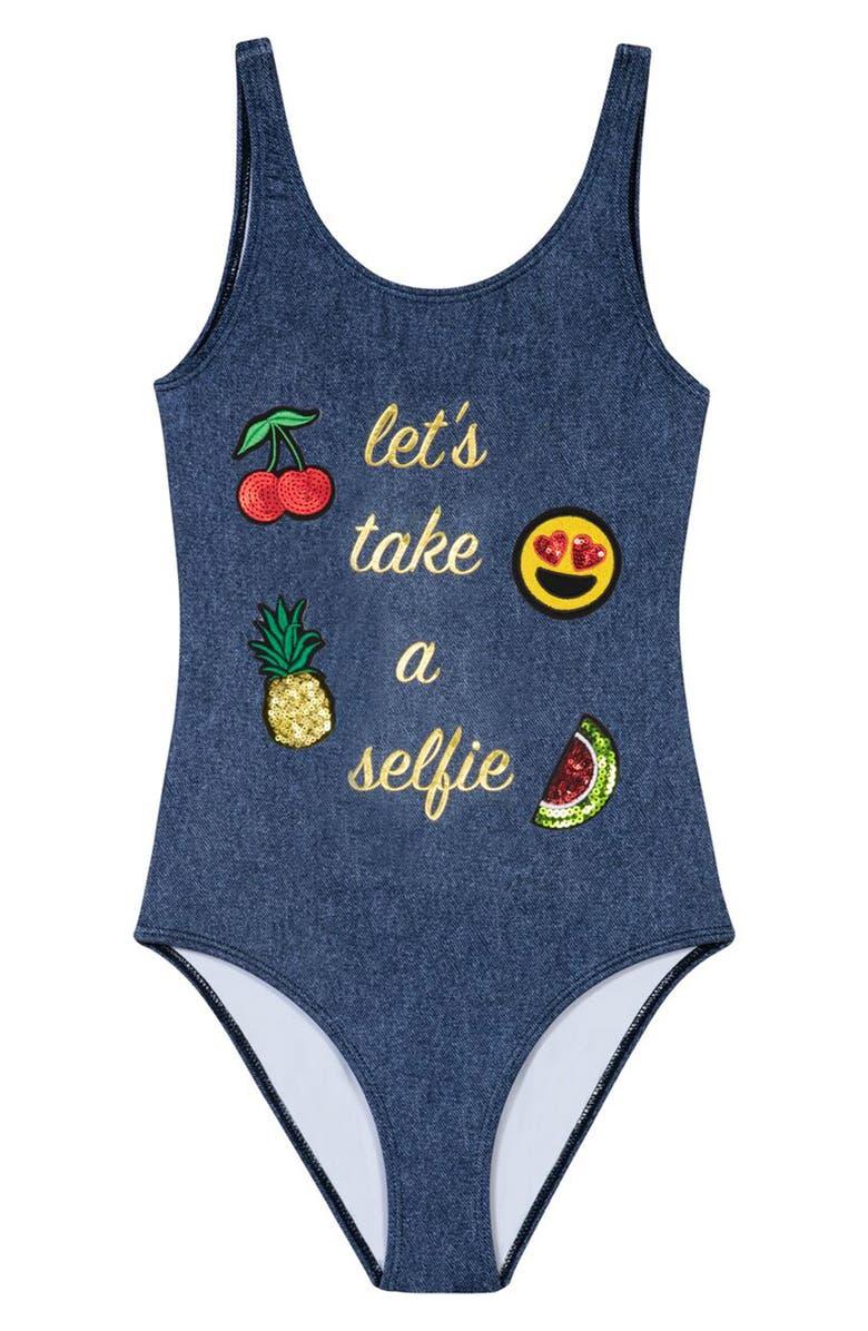26d3ef2ad0f PilyQ Selfie One-Piece Swimsuit (Little Girls) | Nordstrom