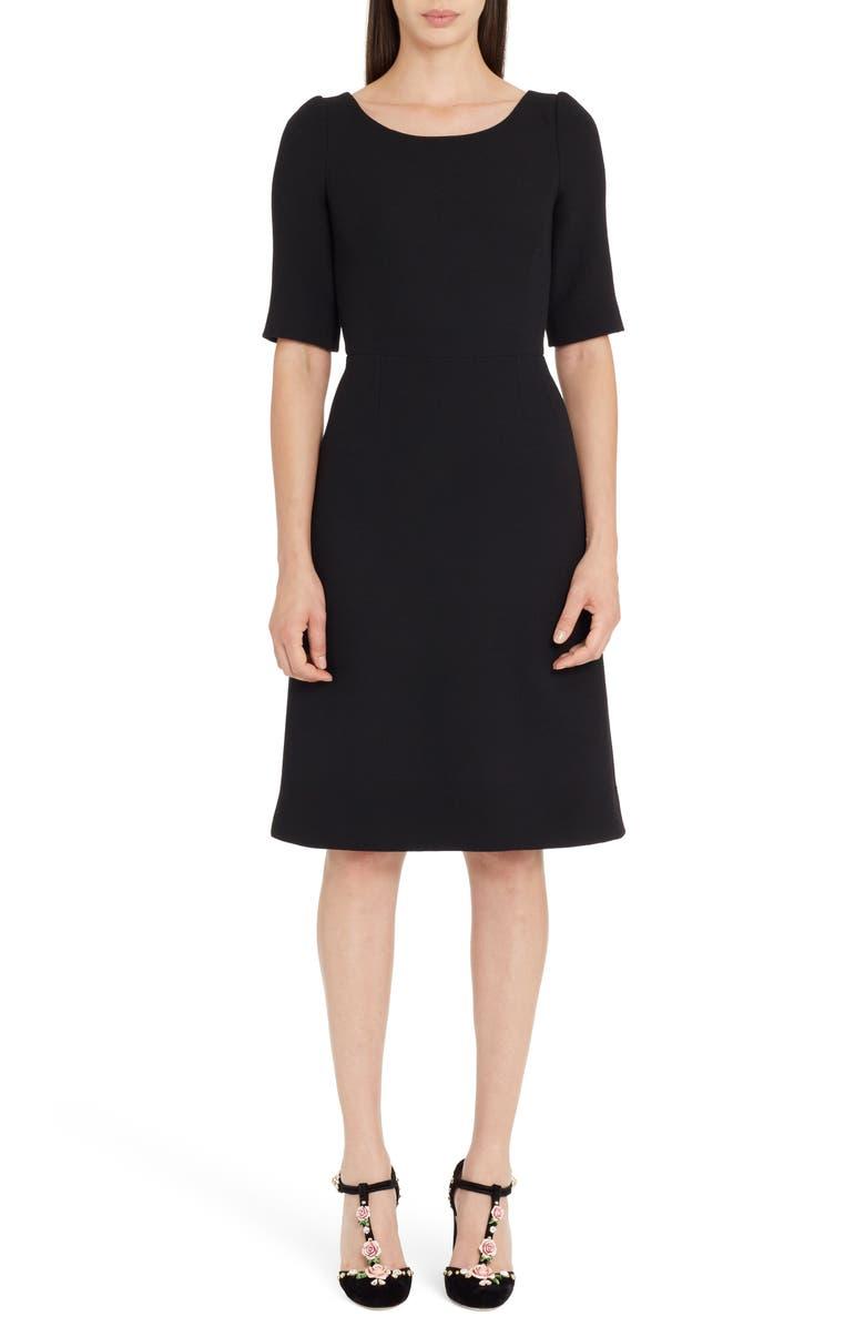 DOLCE&GABBANA Button Detail Wool Crepe Dress, Main, color, 001