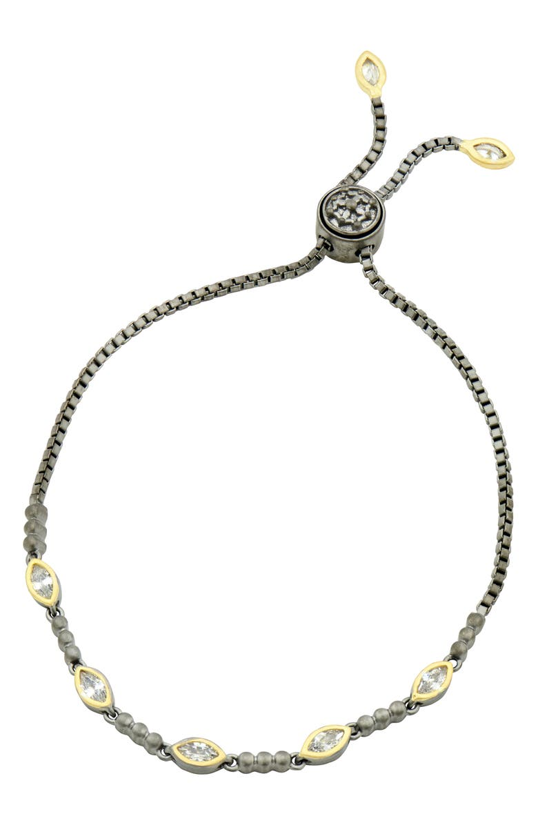 FREIDA ROTHMAN Signature Adjustable Slide Bracelet, Main, color, BLACK/ GOLD
