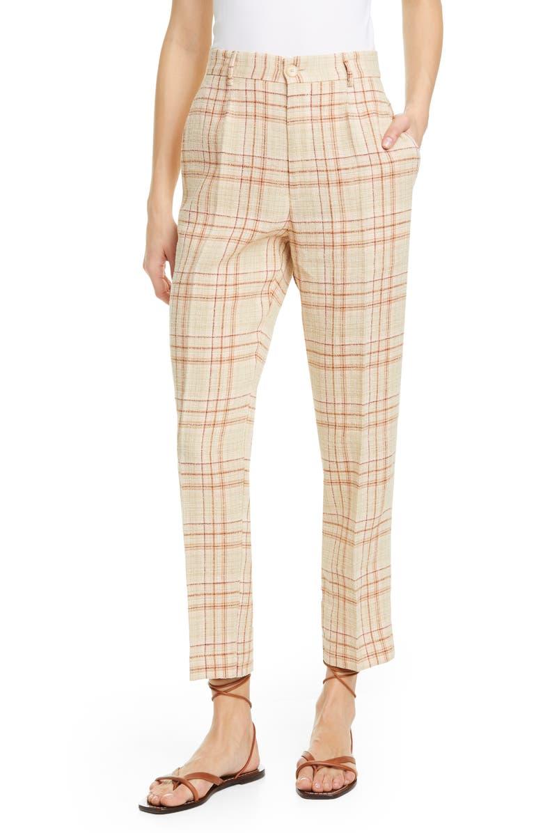 FORTE_FORTE Tartan Plaid Linen & Cotton Blend Ankle Pants, Main, color, CIPRIA