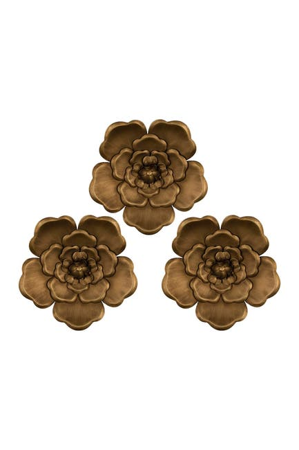 Image of Stratton Home Gold Metal Flowers Wall Decor - Set of 3