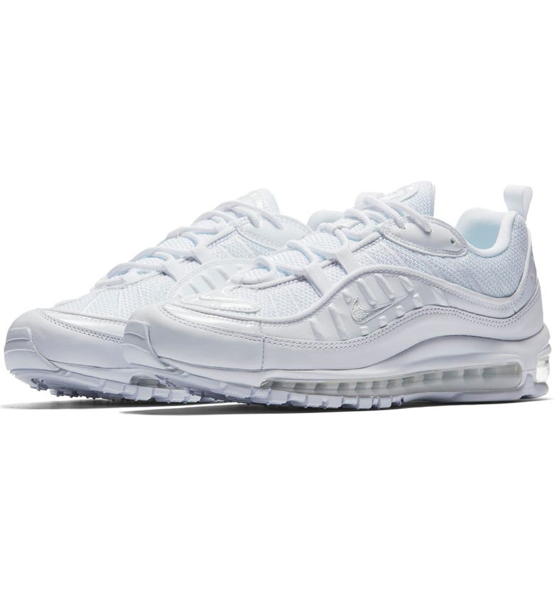 NIKE Air Max 98 Sneaker, Main, color, WHITE/ PLATINUM/ BLACK/ SILVER