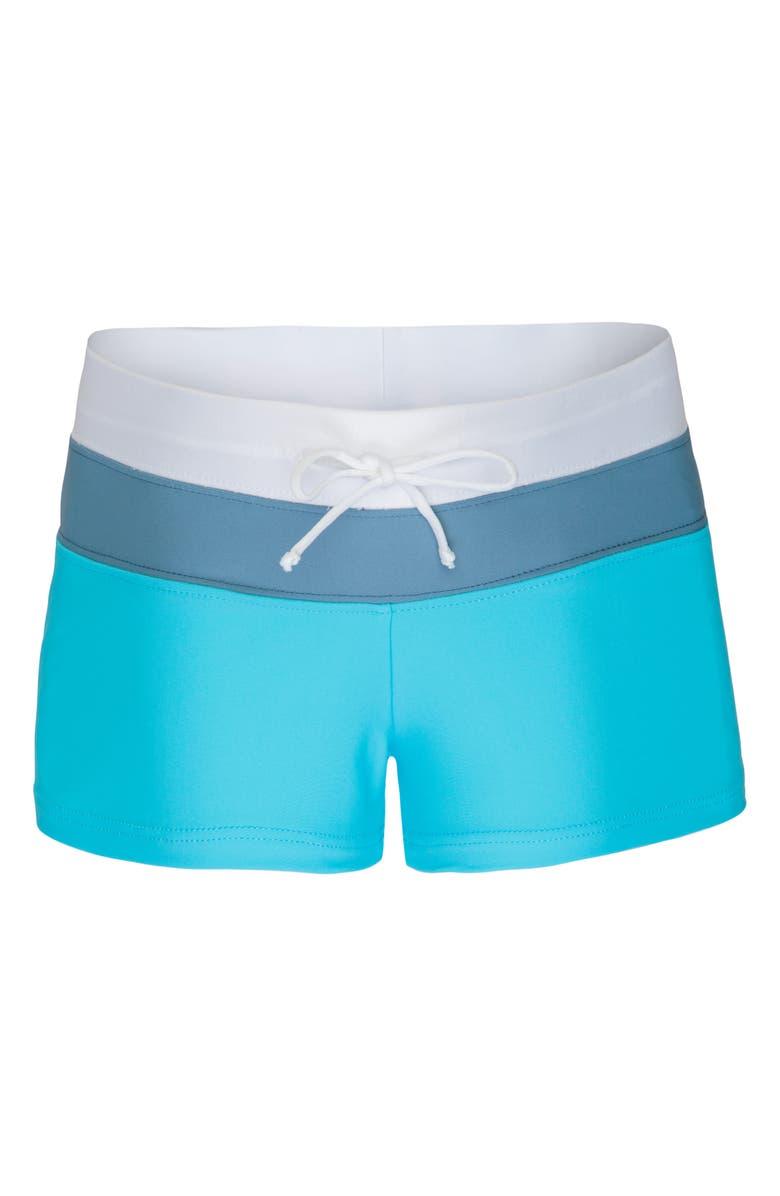 PLATYPUS AUSTRALIA Colorblock Swim Shorts, Main, color, AQUARIUM