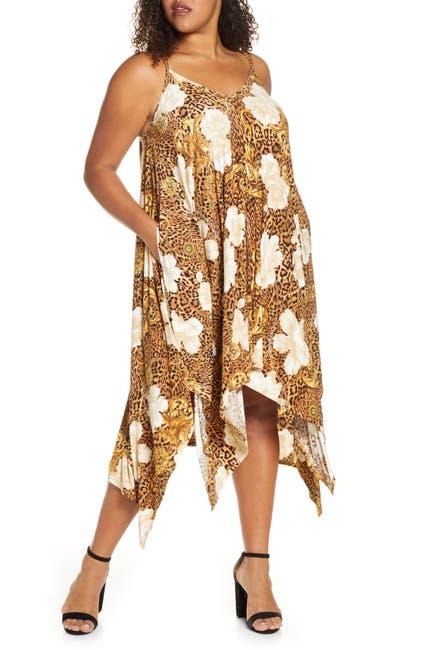 Image of COLDESINA Animal Print Asymmetrical Midi Dress