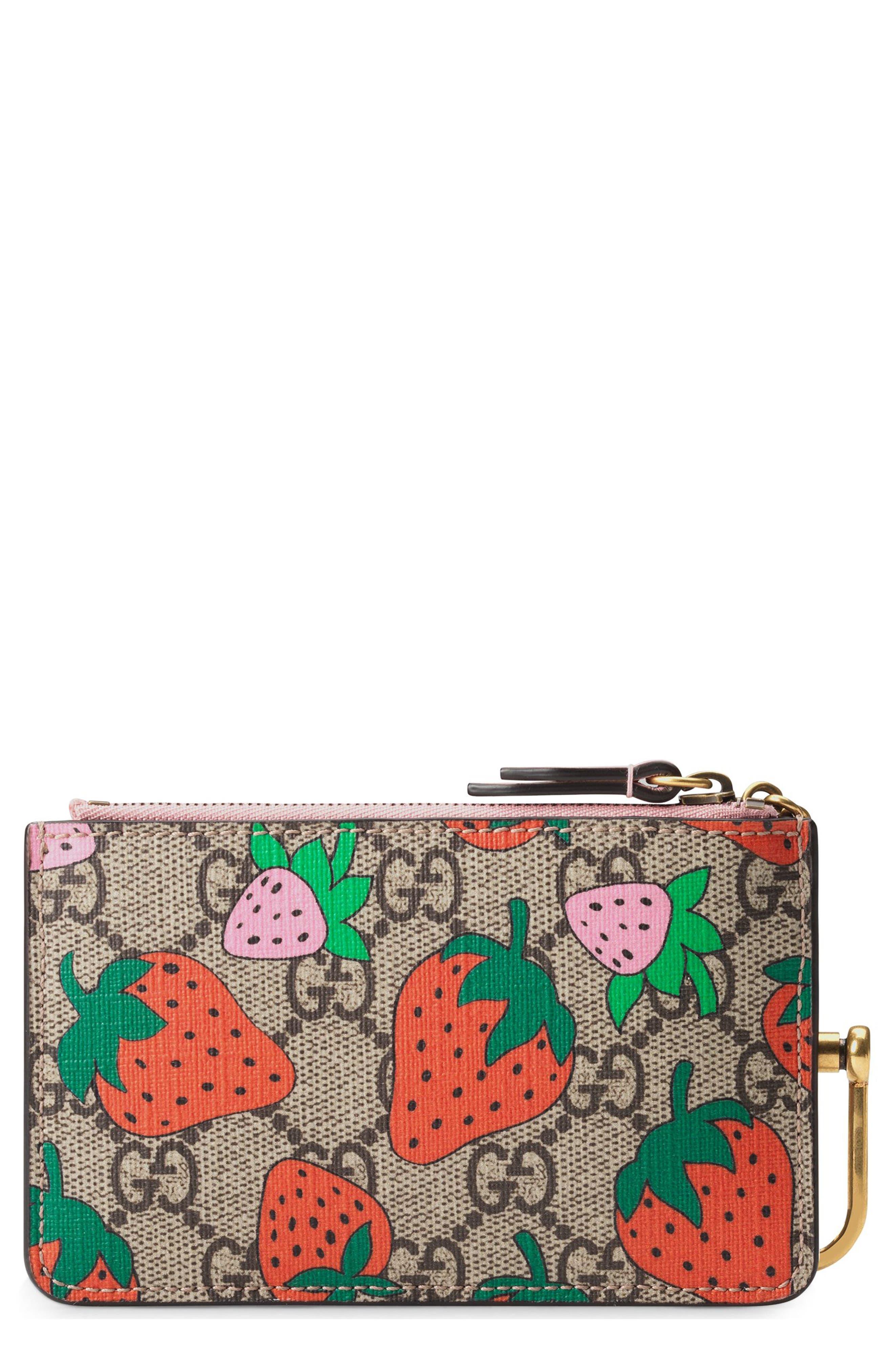 Gucci Strawberry Print GG Supreme Canvas Key Case