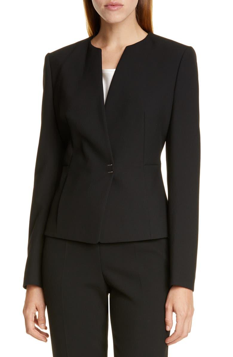 BOSS Jisula Collarless Ponte Suit Jacket, Main, color, BLACK