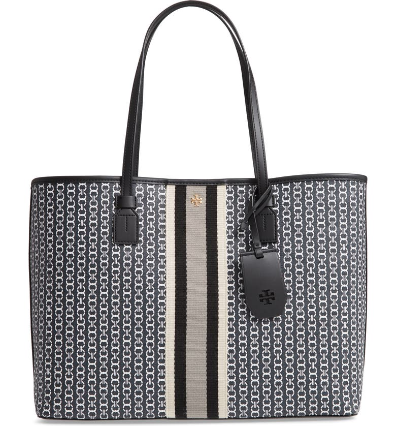 TORY BURCH Gemini Link Coated Canvas Tote, Main, color, BLACK GEMINI LINK