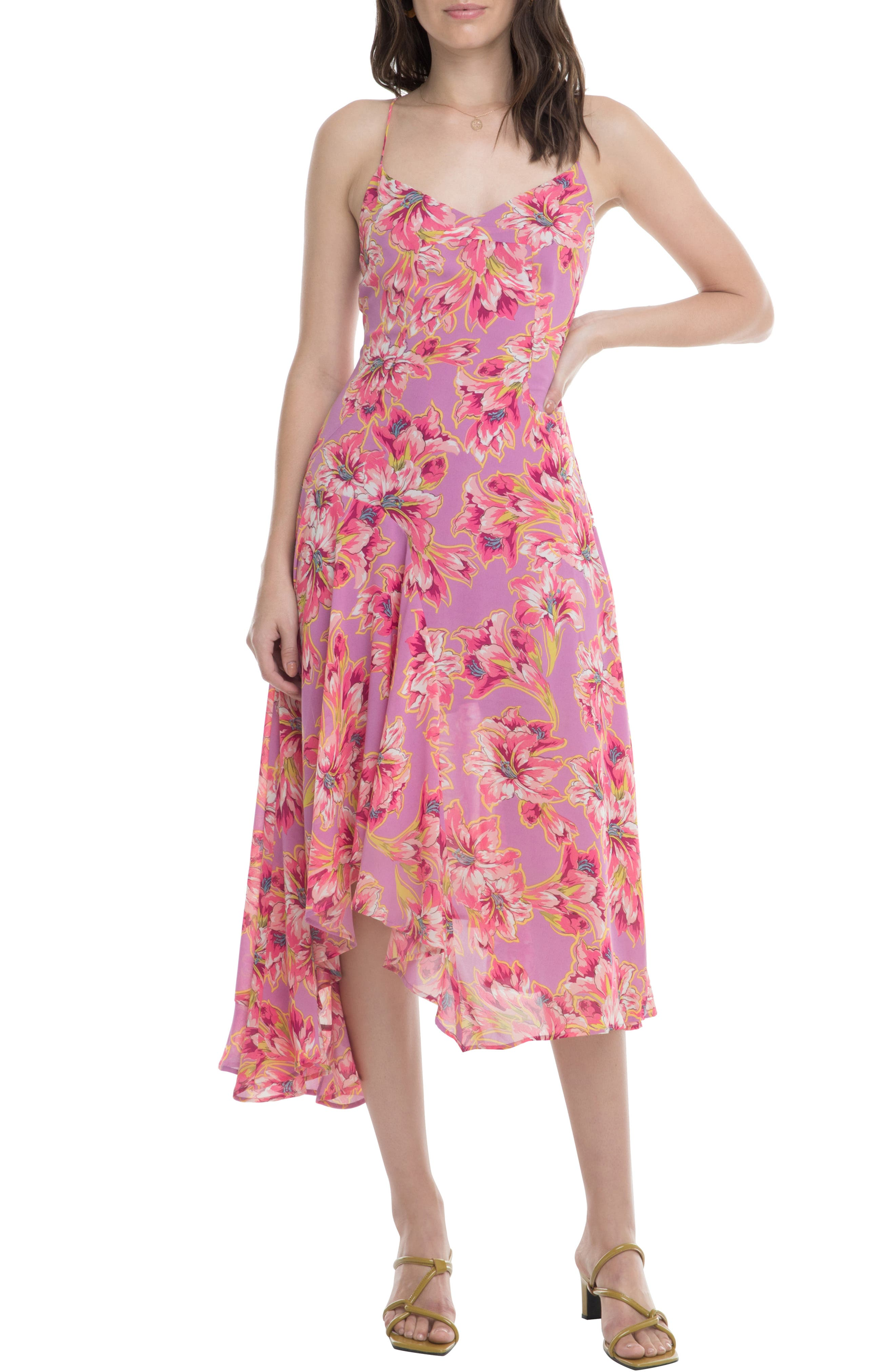 Astr The Label Janine Handkerchief Hem Dress, Pink