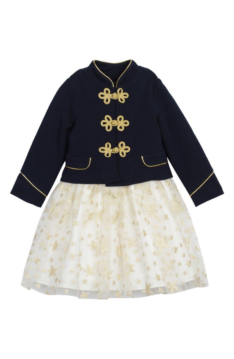 PIPPA & JULIE Stars Majorette Dress Set, Main, color, NAVY/ GOLD
