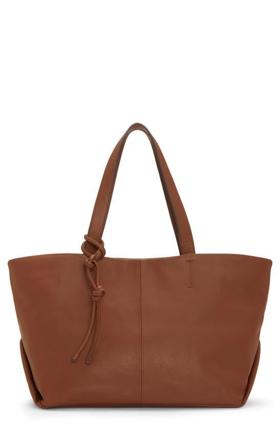 Vince Camuto Dania Leather Shoulder Tote Bag In Danish Brown