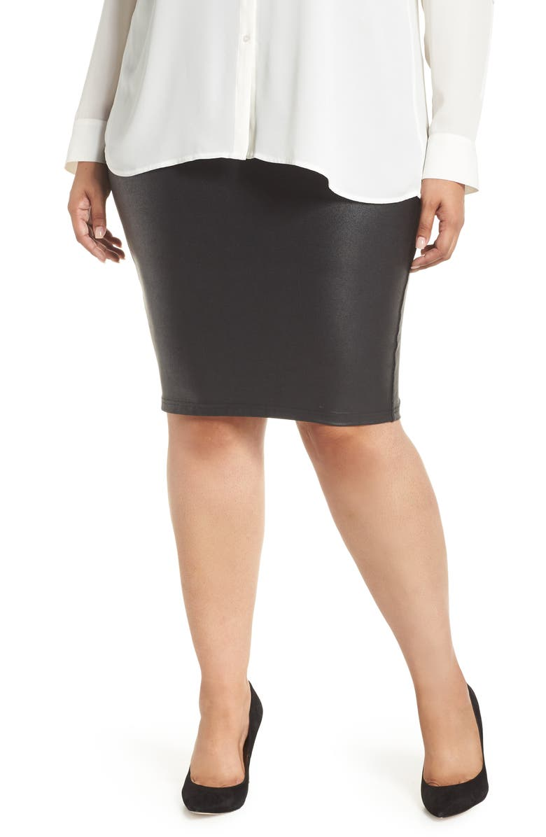 SPANX<SUP>®</SUP> Faux Leather Pencil Skirt, Main, color, VERY BLACK