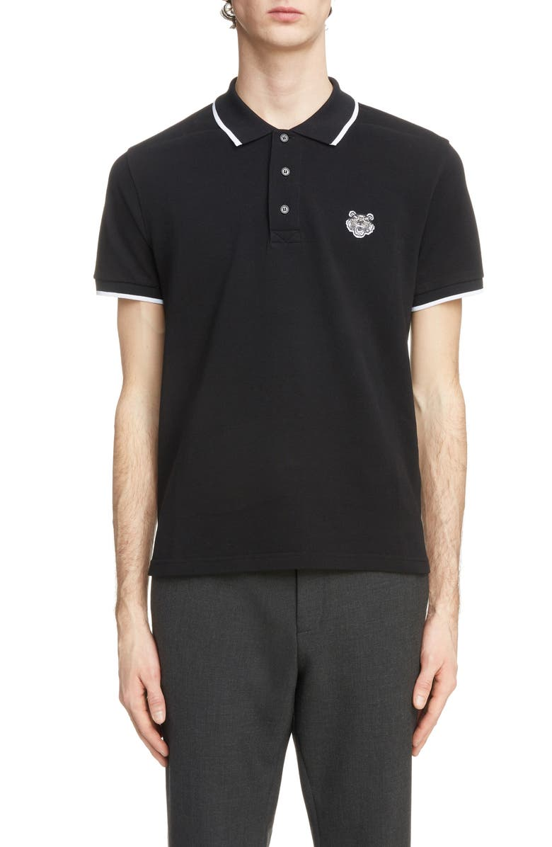 KENZO Tiger Crest Tipped Piqué Polo, Main, color, BLACK
